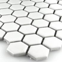 Mosaikfliesen Keramik Hexagon Weiss Matt 23x23x4mm