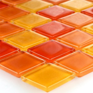 Mosaikfliesen Glas Rot Orange Gelb 25x25x4mm