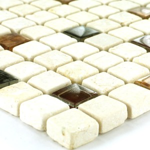 Mosaikfliesen Glas Marmor 15x15x8mm Beige Orange Mix
