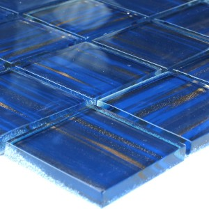 Glasmosaik 48x48x8mm Blau Gold Metall