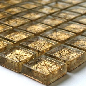 Glasmosaik Fliesen 23x23x8mm Gold Metall