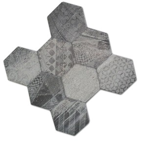 Carrelage Sol Hexagone Hologram Optique 45x45cm