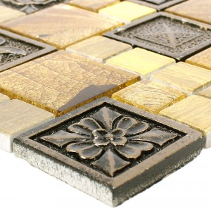Mosaikfliesen Levanzo Glas Resin Ornament Mix Gold