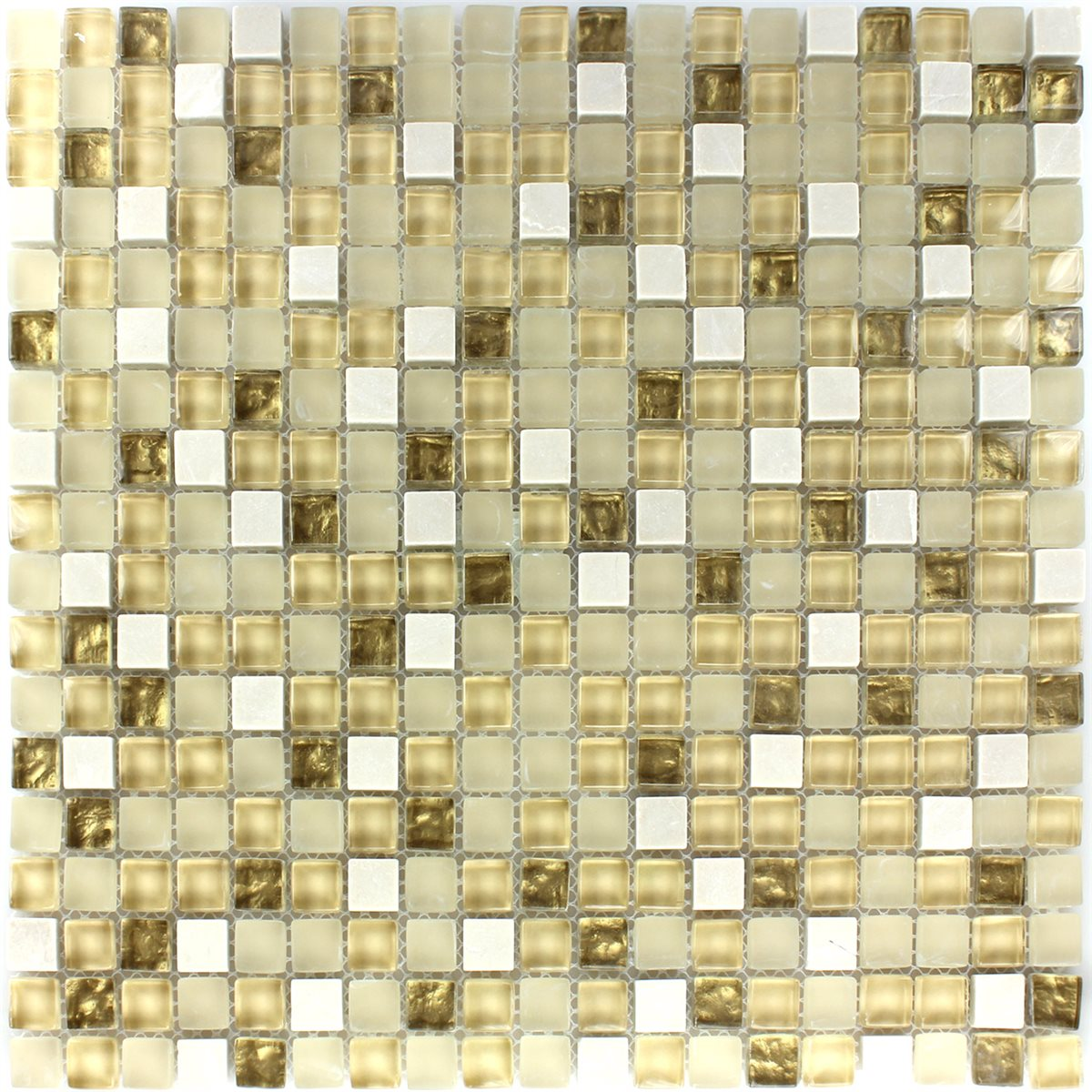 Glas Naturstein Mosaik Fliese Weiss Gold Mix Tm33100m